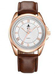 Brief Faux Leather Roman Numerals Waterproof Watch