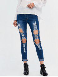 High Rise Destroyed Pencil Jeans