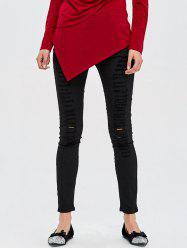 High Rise Destroyed Jeans - BLACK
