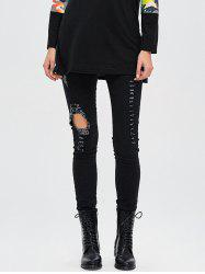 Dark Wash Destroyed Pencil Jeans - BLACK L