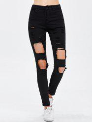 Destroyed Bodycon Jeans - BLACK