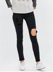 High Waist Destroyed Bodycon Jeans - BLACK