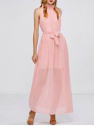 Formal Belted Chiffon Maxi A Line Swing Prom Dress