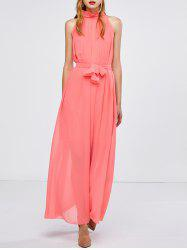 Long Chiffon Sheer Swing Prom Party Dress - WATERMELON RED