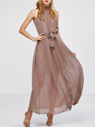 Long Chiffon Sheer Swing Prom Party Dress