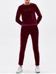 Crew Neck Letter Embroidered Sweat Suit