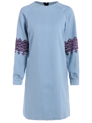 Embroidered Casual Denim Dress