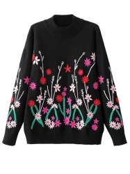 Crew Neck Embroidered Sweater -