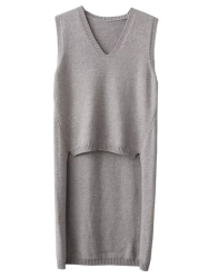 V Neck High Low Vest Sleeveless Jumper Sweater - GRAY ONE SIZE
