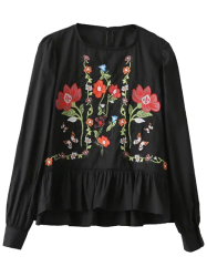 Floral Embroidered Flounce Blouse