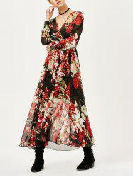 See Thru Floral Surplice Chiffon Maxi Dress with Sleeves