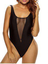 Mesh Insert Plunge High Cut Swimsuit