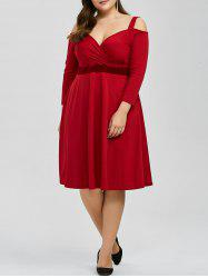 Plus Size Cold Shoulder Bridesmaid High Waist Dress