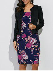 Long Sleeves Floral Print Sheath Work Dress