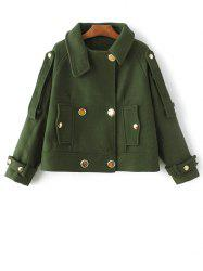 Wool Blend Cropped Peacoat - ARMY GREEN S