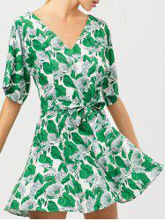 Belted Leaves Print A-Line Dress