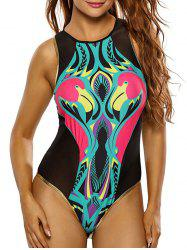 Cute High Neck Flamingo Print Mesh Swimsuit
