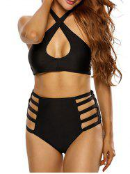 Halter Crosscriss High Waisted Bikini Set