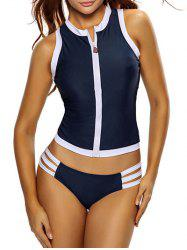 Zip Color Block Sports Racerback Tankini Bathing Suit - DEEP BLUE