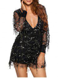 Plunging Neck Fringed Sequined Romper