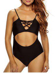 Lacing One Piece Cutout Bathing Suit