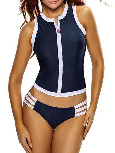 Zip Color Block Sports Racerback Tankini Bathing SuitWOMEN<br><br>Size: XL; Color: DEEP BLUE; Swimwear Type: Tankini; Gender: For Women; Material: Polyester,Spandex; Bra Style: Padded; Support Type: Wire Free; Neckline: Stand; Pattern Type: Striped; Waist: Natural; Elasticity: Elastic; Weight: 0.220kg; Package Contents: 1 x Top  1 x Briefs;