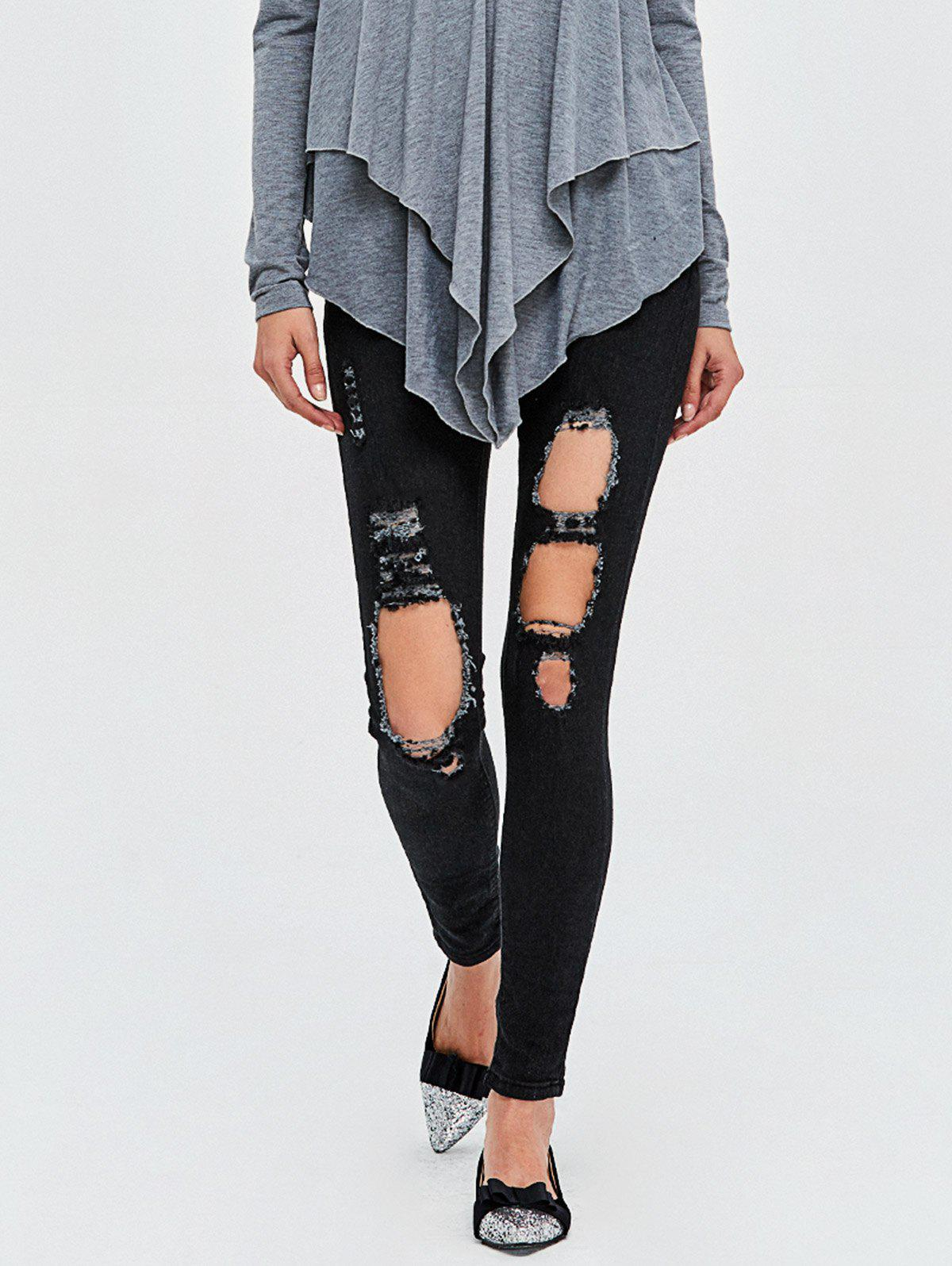Shops Dark Wash High Rise Destroyed Jeans
