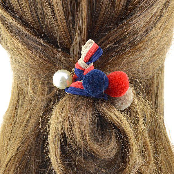 Hot Elastic Hairband with Small Pom Ball Faux Pearl