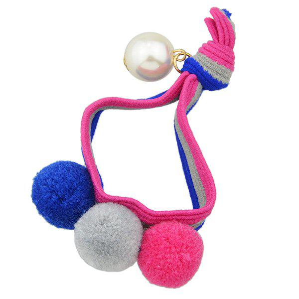 Outfit Elastic Hairband with Small Pom Ball Faux Pearl