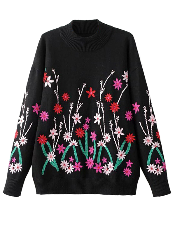 Store Crew Neck Embroidered Sweater