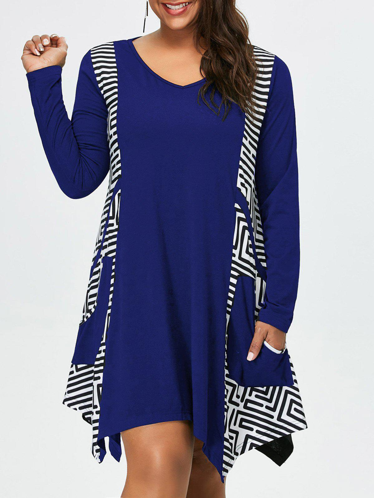 Plus Size Long Sleeve Asymmetrical Tee Dress with PocketsWOMEN<br><br>Size: 5XL; Color: BLUE; Style: Casual; Material: Polyester,Spandex; Silhouette: Asymmetrical; Dresses Length: Knee-Length; Neckline: V-Neck; Sleeve Length: Long Sleeves; Pattern Type: Others; With Belt: No; Season: Fall,Spring,Summer; Weight: 0.4200kg; Package Contents: 1 x Dress;