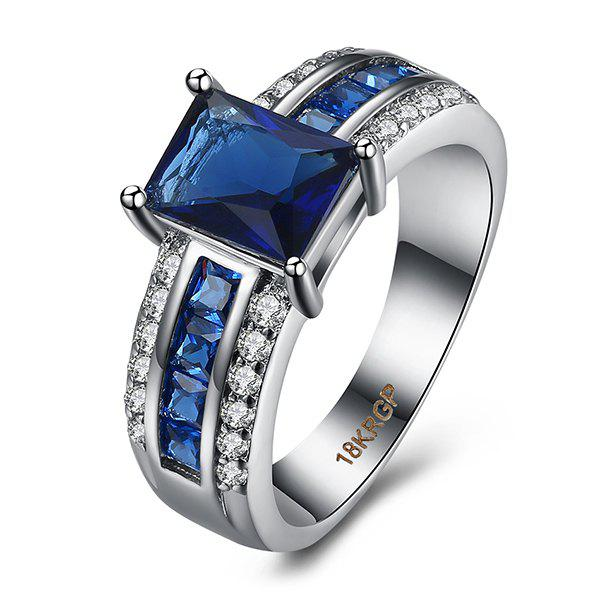 Rhinestone Artificial Sapphire RingJEWELRY<br><br>Size: 9; Color: BLUE; Gender: For Women; Metal Type: Alloy; Style: Trendy; Shape/Pattern: Round; Weight: 0.0400kg; Package Contents: 1 x Ring;