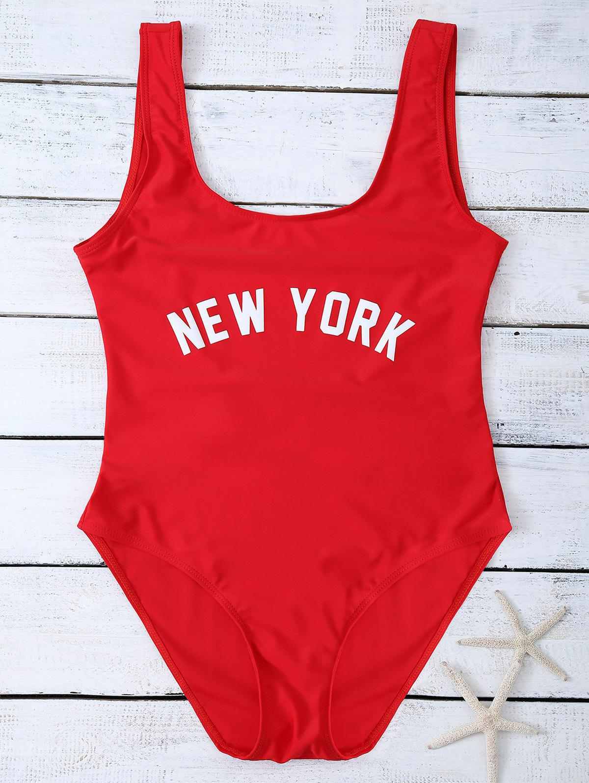 Shop High Cut Letter Unlined One Piece Swimsuit
