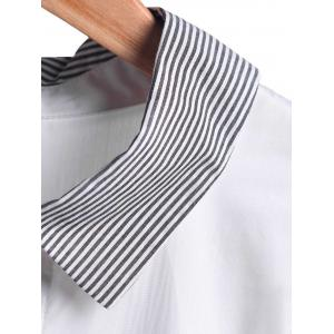 Stylish Turn-Down Collar Striped Irregular Hem Slit Long Sleeve Blouse For Women - WHITE XL