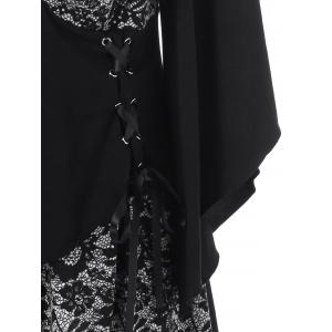 Lace-Up Floral Trim Layered Blouse -