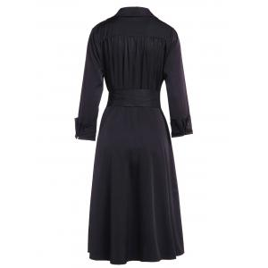 Vintage Turn-Down Collar Solid Color Waist Lace-Up Dress For Women - BLACK M