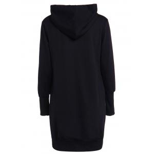 Fashionable Solid Color Long Sleeve Loose-Fitting Hoodie For Women - BLACK 2XL