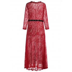 Lace Maxi Prom Party Dress with Sleeves - RED 2XL