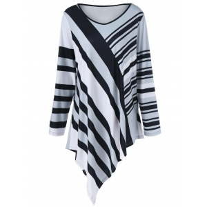 Plus Size Striped Asymmetrical Tunic T-Shirt