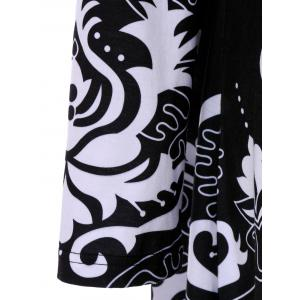 Plus Size Floral Print Asymmetric T-Shirt - BLACK 5XL
