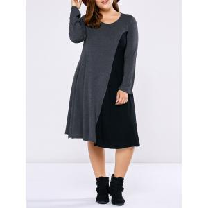 Plus Size Long Sleeve Two Tone Casual Dress - Black And Grey - Xl
