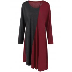 Plus Size Long Sleeve Asymmetrical Two Tone Casual Dress