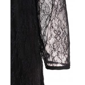 Col rond élégant à manches 3/4 en dentelle Spliced ​​See-Through Dress - Noir M