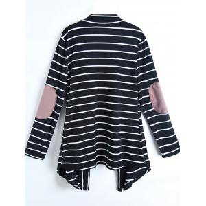 Casual Collarless Striped Long Sleeve Cardigan For Women - COLORMIX L