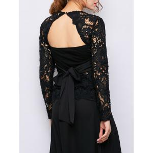 See Through Self-Tie Lace Backless Top - Black - M
