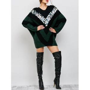 Sequins Oversized Batwing Poncho Sweater