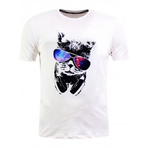Sunglasses Cat Print Short Sleeve T-Shirt - White - M