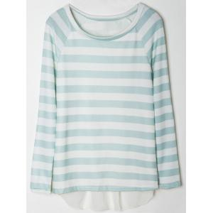 Stylish Scoop Collar Long Sleeve Spliced Striped Women's Knitwear - WHITE AND GREEN M
