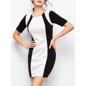 Color Block Bodycon Dress - White And Black - M
