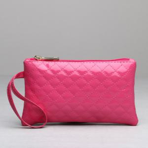 Patent Leather Rhombic Wristlet - ROSE RED